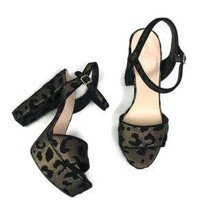 Nine West Womens Carnation Leopard Print Platforms